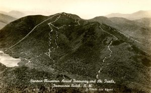 NH - Franconia Notch. Cannon Mountain Aerial Tramway circa 1940   RPPC