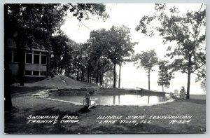 Lake Villa Illinois~Conservation Swimming Pool Training Camp~c1950 RPPC Postcard