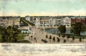 sweden, STOCKHOLM, Strandvägen och Narvavägen fran Djurgarden (1903) Stamp