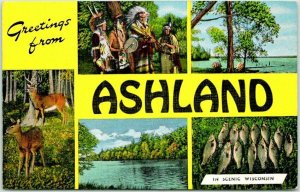 1940s Greetings from ASHLAND Wisconsin Postcard Indians Fish KROPP Linen Unused