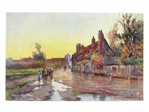Antique colour printed postcard The Old Cottages Bray S Hildesheimer & Co