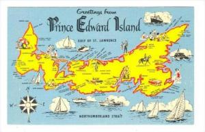 Map,  Greetings From Prince Edward Island, Canada, 1940-1960s
