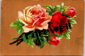 FAREWELL - FLOWERS - RED WHITE GREEN LEAVES - EMBOSSED - VINTAGE - POSTCARD
