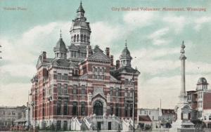 WINNIPEG , Manitoba , 1900-10s ; City Hall & Volunteer Monument