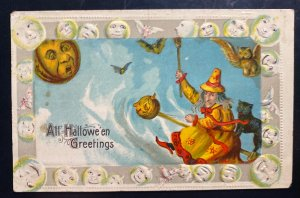 Mint Usa Picture Postcard Cover Witch All Halloween Greetings