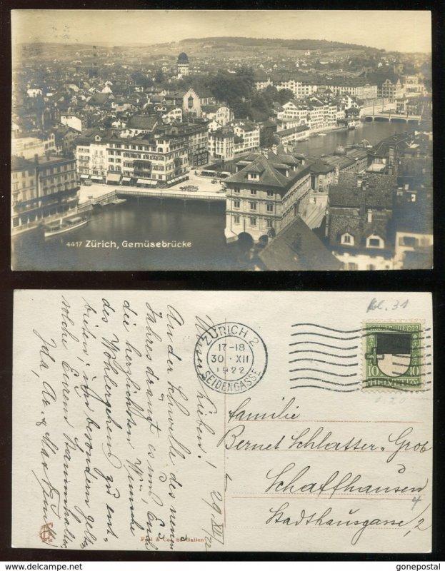 dc1468 - ZURICH 1922 Real Photo Postcard. Seidengasse Cancel