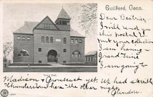 Town Hall, Guilford, Connecticut, early postcard, used in 1905
