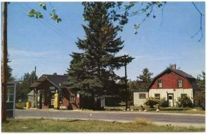 Wesley, Maine,  Early View of Hawkins Service Station, Store & Hunting Cabins