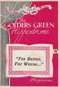For Better Or Worse Golders Green Comedy Theatre Programme