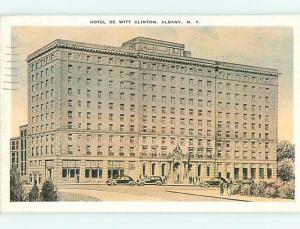 Linen OLD CARS & DEWITT CLINTON HOTEL Albany New York NY t0425