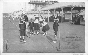 Chocolate Lombart Advertising, Children Playing Croquet Postcard Unused