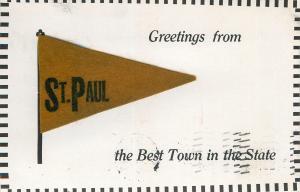 St. Paul Minnesota~Brown Felt Pennant: Best Town in the State 1912 Postcard