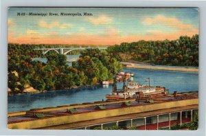 Minneapolis MN, Mississippi River, Bridge, Boat, Linen Minnesota c1941 Postcard