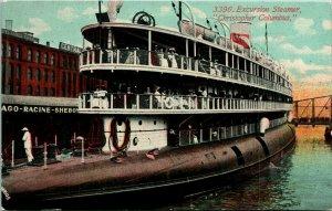 Vtg Carte Postale Pre-1910 Excusion Bateau Vapeur Christopher Columbus Wisconsin