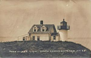 Pond Island Lighthouse Kennebec River ME #63 Real Photo Postcard