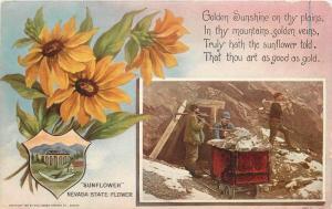 Artist impression C-1910 Mining Ore Cart Sunflower Oregon Haffner postcard 5519