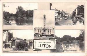 Luton Wardown Park, Lake, George St. Parish Church, Town Hall, Swans, Cars 1957