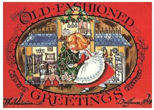 Old Fashioned Greetings The Victorian Dollhouse Vintage Christmas Postcard