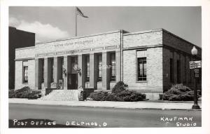 Ohio Postcard Real Photo RPPC c1940s DELPHOS U.S. Post Office Building