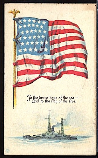 USA Patriotic With Flag To The Brave Boys of the Sea Battleship