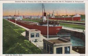 Michigan Sault Ste Marie General View Of Famous Soo Locks Sabin Lock With Two...
