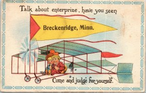 Talk About Enterprize in Breckenridge Minnesota~Come See~Bi-Plane~1910 Pennant