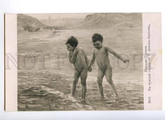 149130 NUDE Kids in Water by DEMONT-BRETON vintage SALON PC