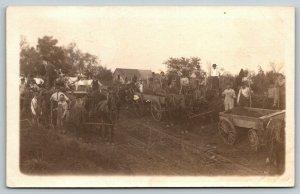 Lake City Iowa~Farmers Wagons~John Blue: La Gripe & Head Ulcer~1915 Easton RPPC
