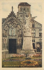 Netherlands Postcard Maastricht Church St Servatius statue at the entrance