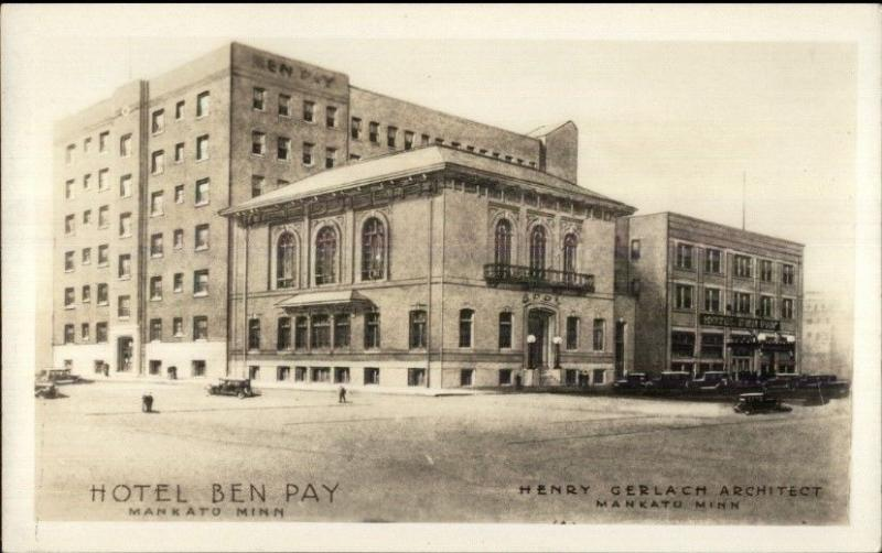 Mankato MN Hotel Ben Pay c1920s-30s Real Photo Postcard