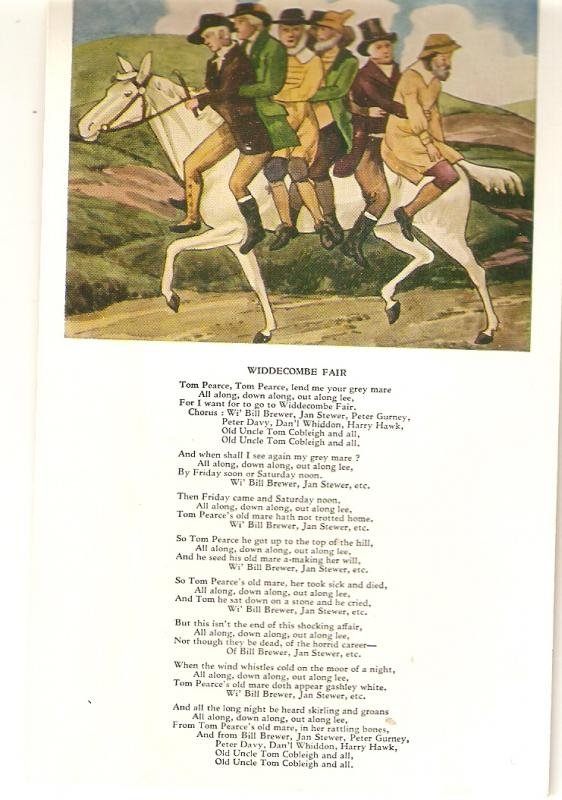 People on white horse to Widdecombe Fair.Poem Curious antique English Valenti