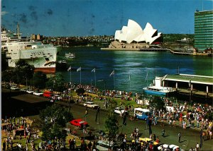 Australia Sydney Opera House Circular Quay Harbor Postcard used with stamp 1982