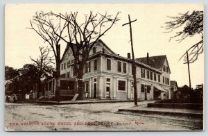 Rockport Massachusetts~The Granite Shore Hotel Fills Corner~Post Office~1913 B&W