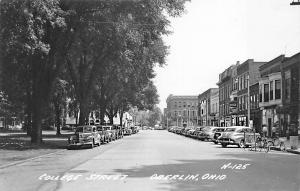 Oberlin OH College Street Storefronts Old Cars Real Photo Postcard