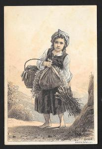 VICTORIAN TRADE CARD JO Frosts Sons Furniture Girl Carrying Dry Goods