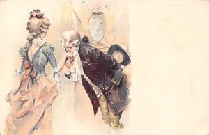 Vintage Flirt Hand Kiss, Lovers Couple, Edwardian Victorian Fashion, Postcard