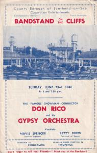Southend On Sea 1946 Gipsy Essex Bandstand Classical Theatre Programme