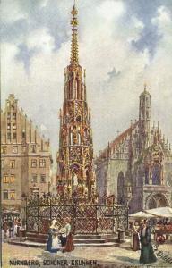 germany, NÜRNBERG, Schöner Brunnen (1910s) Raphael Tuck Oilette I - 611B