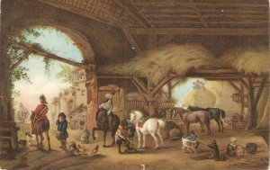 P. Wouverman. The Stable. Horses Fine painting Stengel PC # 29672