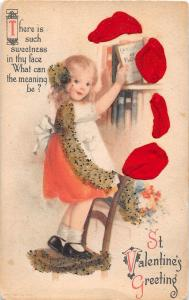 <A13> VALENTINE'S DAY Love Holiday Postcard c1910 SILK GLiter Girl Book 10
