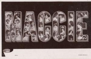 A Girls Named Called MAGGIE Margaret Old Theatre Star Actress Name RPC Postcard