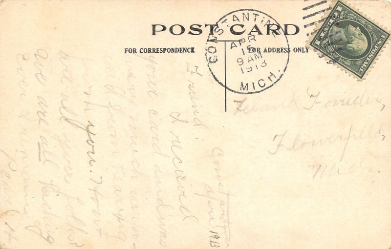 Constantine Michigan~Mutch Lonesomeness Mitout Youse~Dutch Pennant Postcard 1913