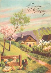 Easter fantasy signed postcard farm animals lambs chickens hen spring landscape