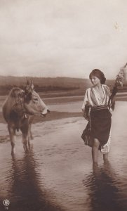 RP: ROMANIA, 00-10s; Girl with shirt open to waist & cow in stream