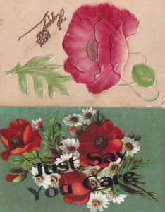Just Say You Care & Craft Rose 2x Antique Flower Postcard s