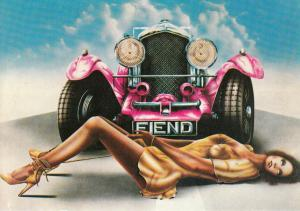 Fiend by Daniels pinup & automobile postcard