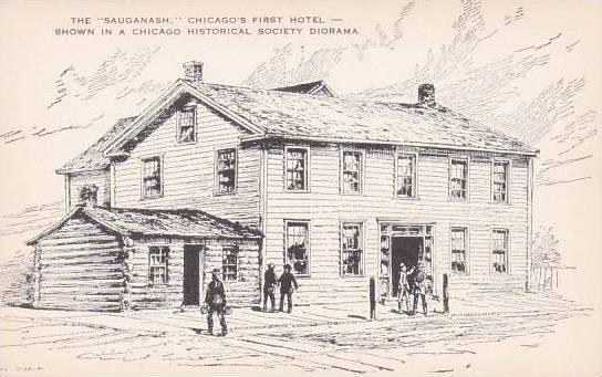 Illinois Chicago Historical Soiety The SauganaChicago First Hotel From A Chic...