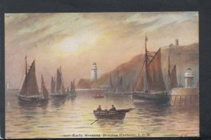 Isle of Man Postcard - Artist View of Early Morning Douglas Harbour  T8284