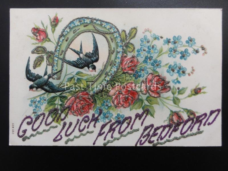 Greetings BEDFORD Good Luck From c1907 Embossed & Glittered - Old Postcard