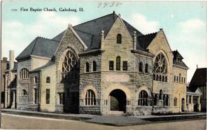 c1910 GALESBURG Illinois Ill Postcard FIRST BAPTIST CHURCH